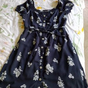 Abercrombie and Fitch Button-up Navy Floral Dress